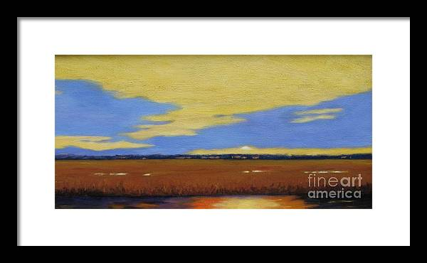 Sunset Framed Print featuring the painting Sunset On The Marsh by Laura Roberts