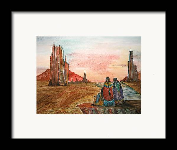 Original Art Framed Print featuring the painting Sunset On The Mesa by K Hoover