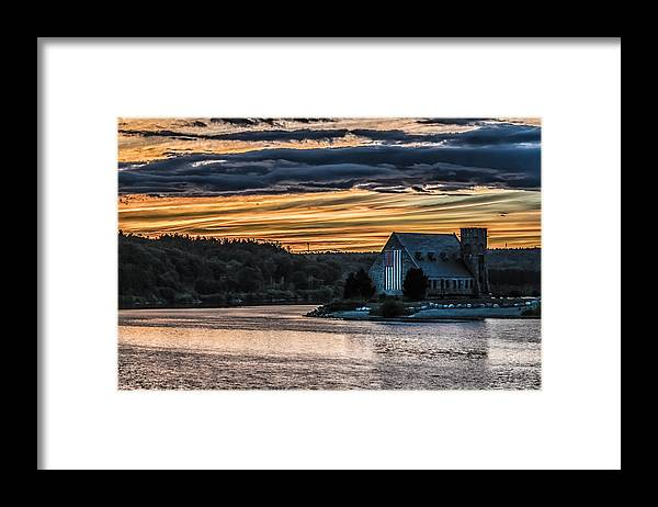 Landscape Framed Print featuring the photograph Sunset on The Old Stone Church by Bob Bernier