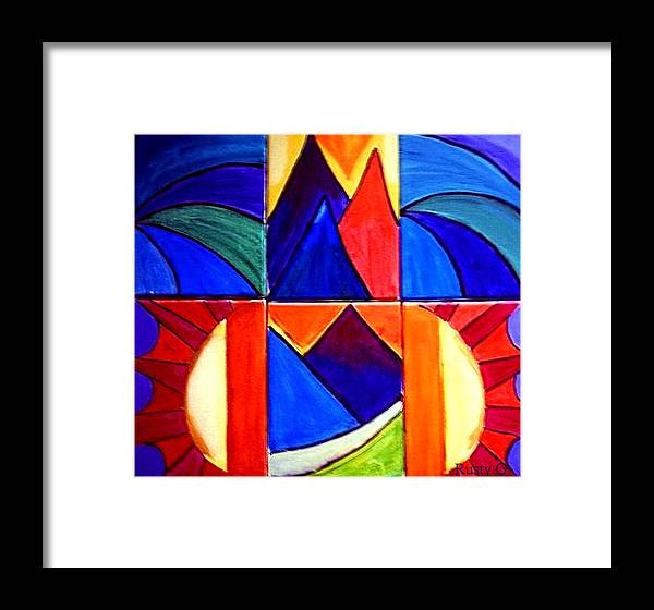 Abstract Sunset Framed Print featuring the painting Sunset On The Peaks by Rusty Gladdish