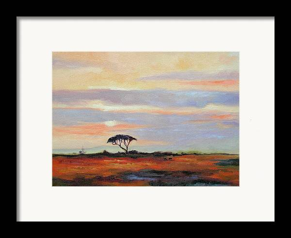 Landscape Framed Print featuring the painting Sunset On The Serengheti by Ginger Concepcion