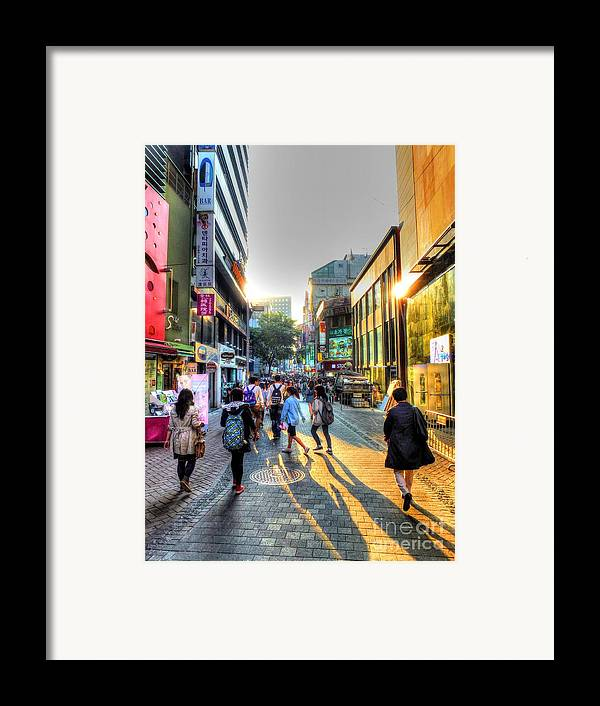 Seoul Framed Print featuring the photograph Sunset On The Streets Of Seoul by Michael Garyet