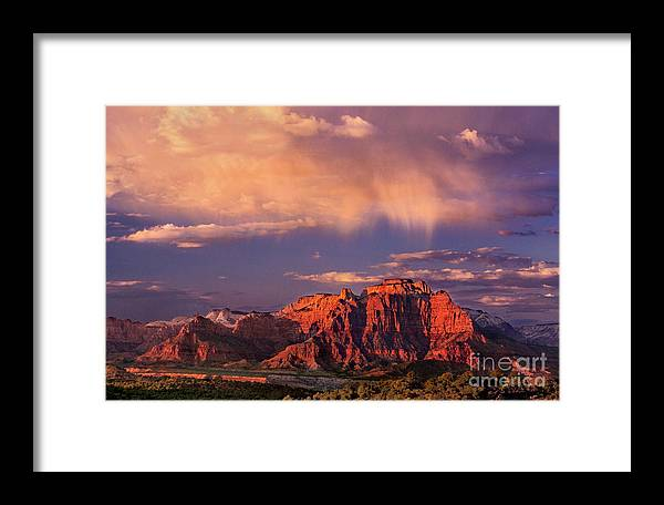 North America Framed Print featuring the photograph Sunset On West Temple Zion National Park by Dave Welling