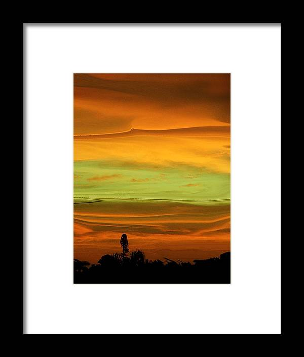 Abstract Framed Print featuring the photograph Sunset Orange And Green by Florene Welebny
