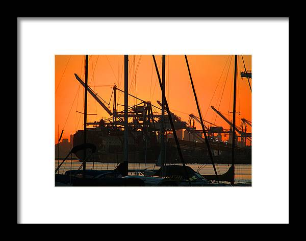 Sunset Framed Print featuring the photograph Sunset Over Alameda Harbor by Charles Ridgway