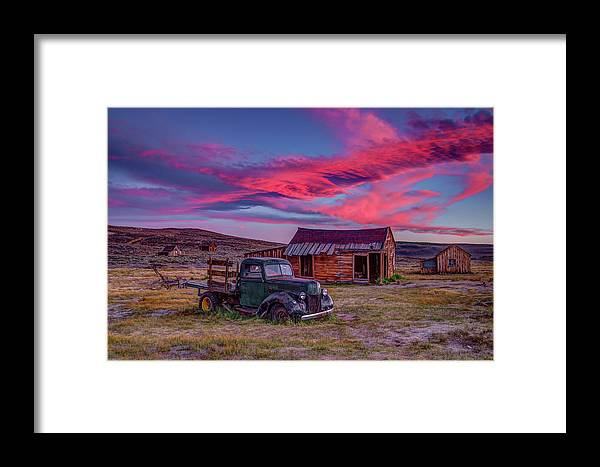 Sunset Framed Print featuring the photograph Sunset Over Bodie's Green Truck by Jeff Sullivan