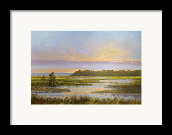 Landscape Framed Print featuring the painting Sunset Over Kootenai by Dalas Klein