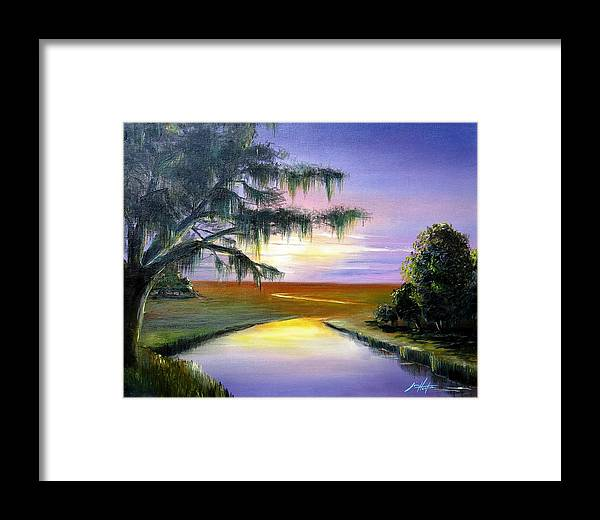 Sunset Framed Print featuring the painting Sunset Over Low Country Marsh by Jim Horton