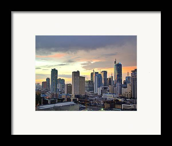 Horizontal Framed Print featuring the photograph Sunset Over Makati City, Manila by Neil Howard