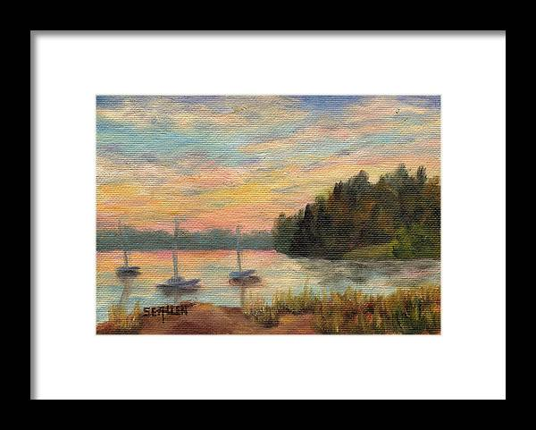Sunset Framed Print featuring the painting Sunset Over Massabessic by Sharon E Allen