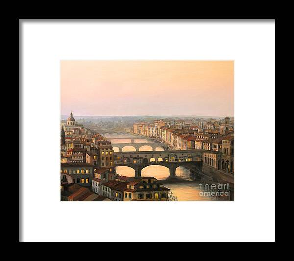 Ancient Framed Print featuring the painting Sunset over ponte Vecchio in Florence by Kiril Stanchev