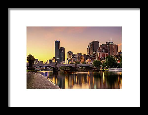 Australia Framed Print featuring the photograph Sunset Over Skyscrapers Of Melbourne Downtown And Princes Bridge by Miroslav Liska