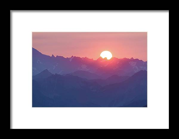 Sunset Framed Print featuring the photograph Sunset Over The Alps by Paul MAURICE