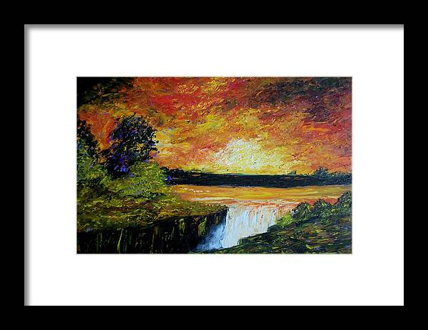 Sunset Framed Print featuring the painting Sunset Over The Lake by Tami Booher