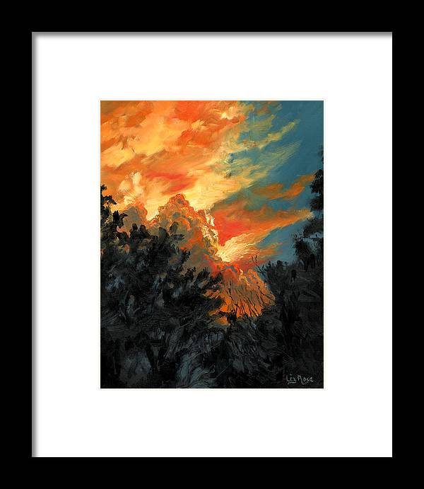 Landscape Framed Print featuring the painting Sunset Over The Little Wekiva by Liz Rose