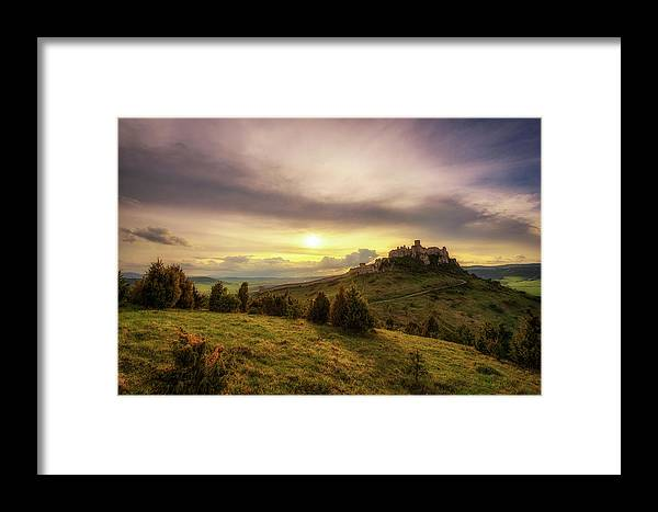 Abandoned Framed Print featuring the photograph Sunset Over The Ruins Of Spis Castle In Slovakia by Miroslav Liska
