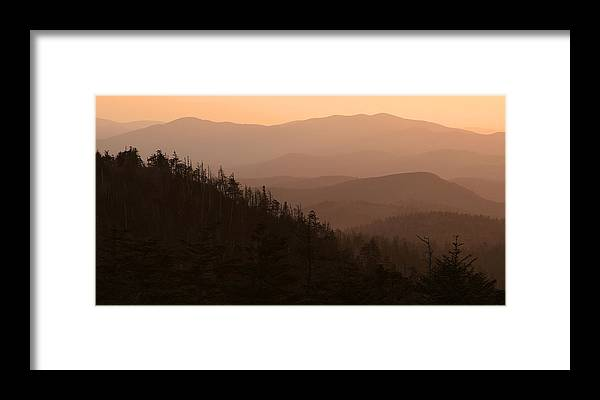 Great Smoky Mountains National Park Framed Print featuring the photograph Sunset Over The Smokies by Brian M Lumley