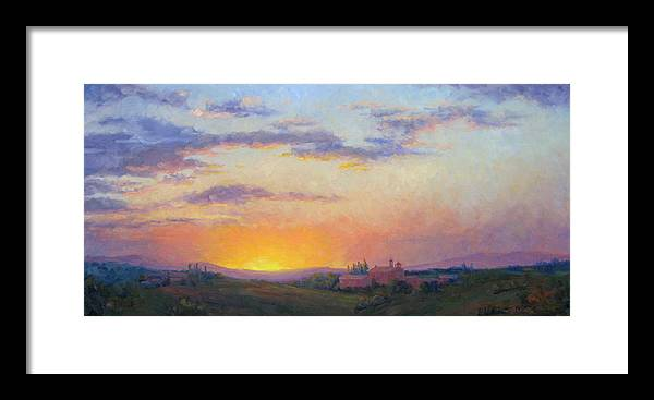 Sunset Framed Print featuring the painting Sunset Over Tuscany by Bunny Oliver
