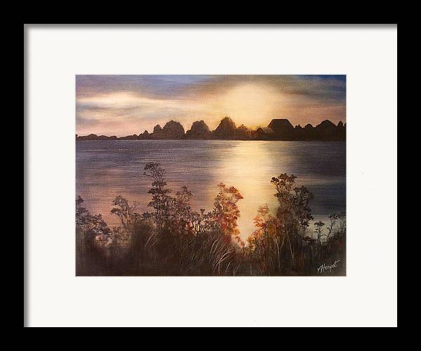 Sunset Framed Print featuring the painting Sunset Over Westham Island by Victoria Heryet