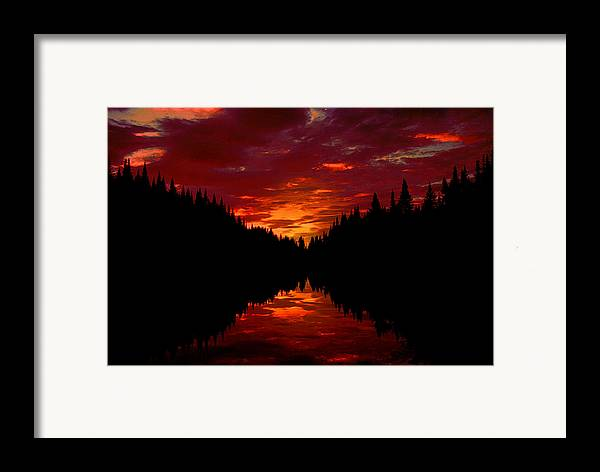 Silhouette Framed Print featuring the photograph Sunset Over Wetlands by Roger Soule