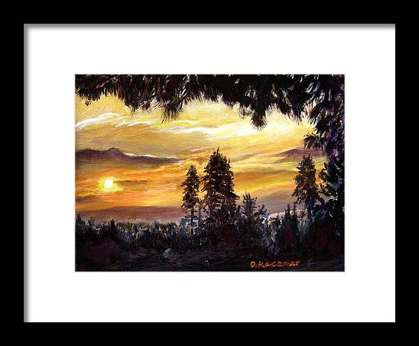 Landscape Framed Print featuring the painting Sunset Over Wrightwood by Olga Kaczmar