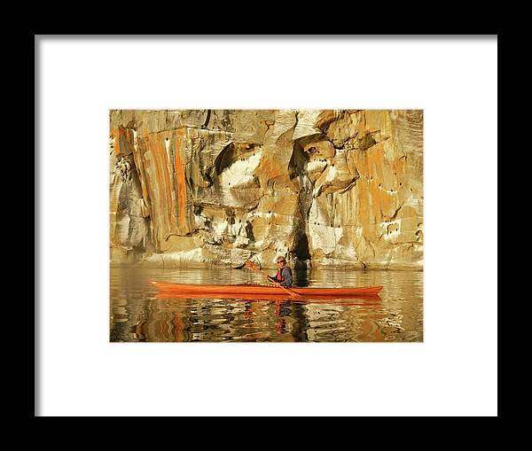 Sunset Framed Print featuring the photograph Sunset Paddler by Johanna Wray