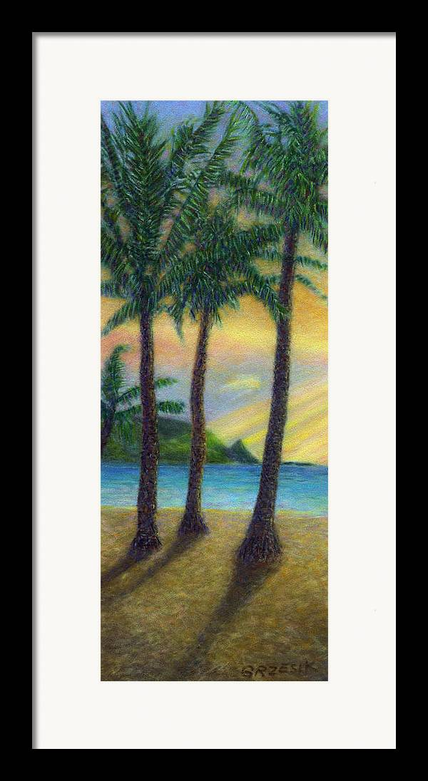 Rainbow Colors Pastel Framed Print featuring the painting Sunset Palms by Kenneth Grzesik