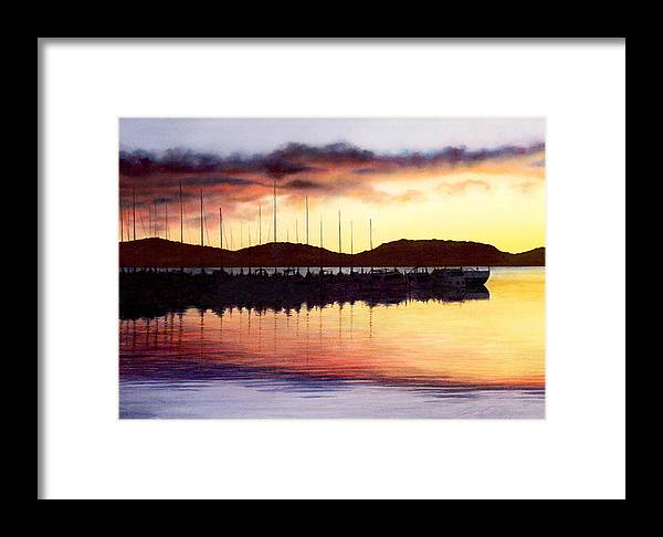 Ocean Framed Print featuring the painting Sunset Panorama Left Side by Cory Calantropio