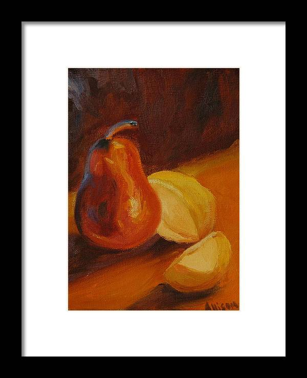 Still Life Framed Print featuring the painting Sunset Pears by Stephanie Allison