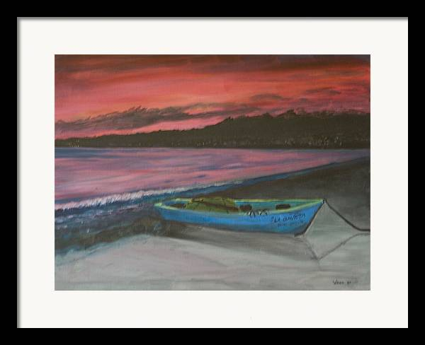 Seascape Framed Print featuring the painting Sunset Reflections by Anita Wann
