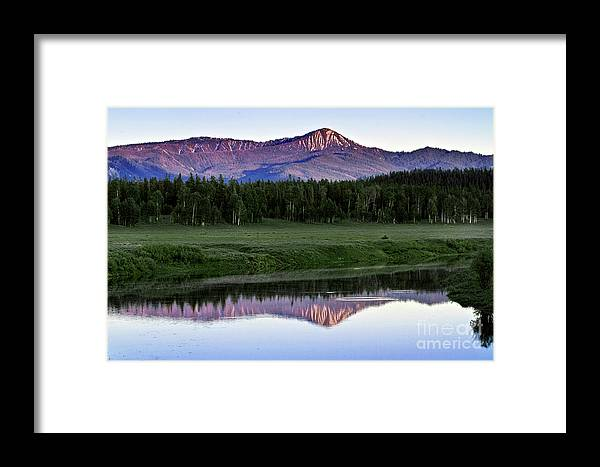 Sunset Framed Print featuring the photograph Sunset Reflections At Oxbow Bend by Rodney Cammauf