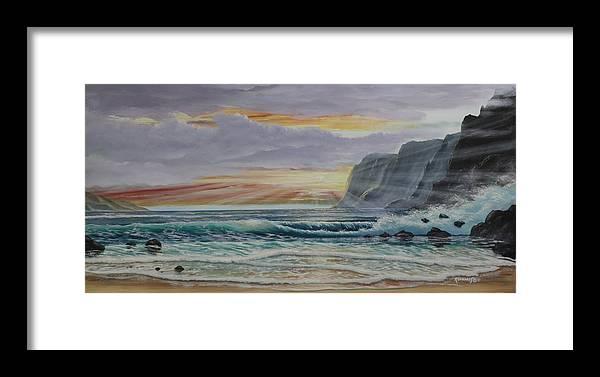 Dj Khamis Framed Print featuring the painting Sunset Romance by Dj Khamis