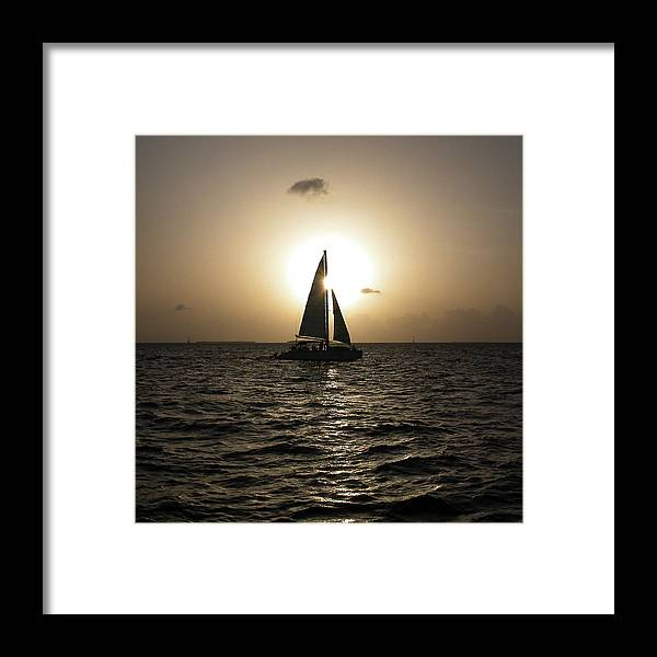 Sunset Framed Print featuring the photograph Sunset Sail - Key West by Frank Mari