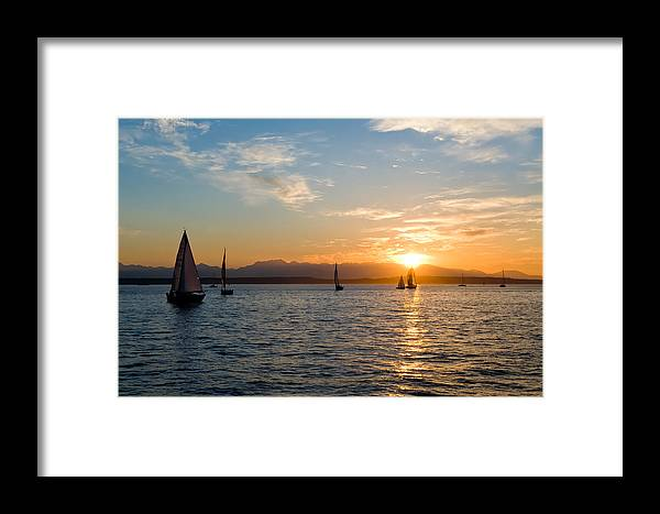 Seattle Framed Print featuring the photograph Sunset Sailboats by Tom Dowd