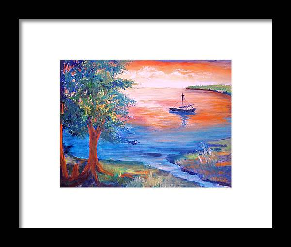 Boat Framed Print featuring the painting Sunset Sailing by Anne Dentler