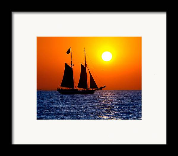Yellow Framed Print featuring the photograph Sunset Sailing In Key West Florida by Michael Bessler