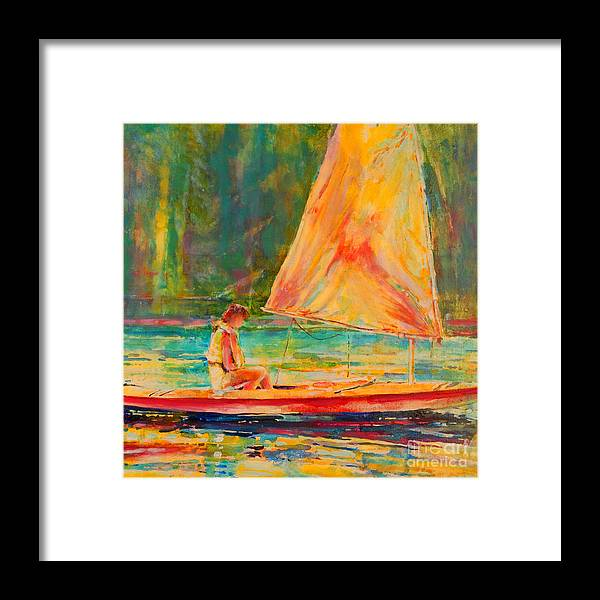 Sunfish Framed Print featuring the painting Sunset Sailor 2 by Kip Decker