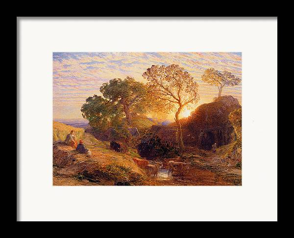 Sunset Framed Print featuring the painting Sunset by Samuel Palmer