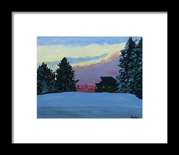 Landscape Framed Print featuring the painting Sunset Serenade by Laurie Breton