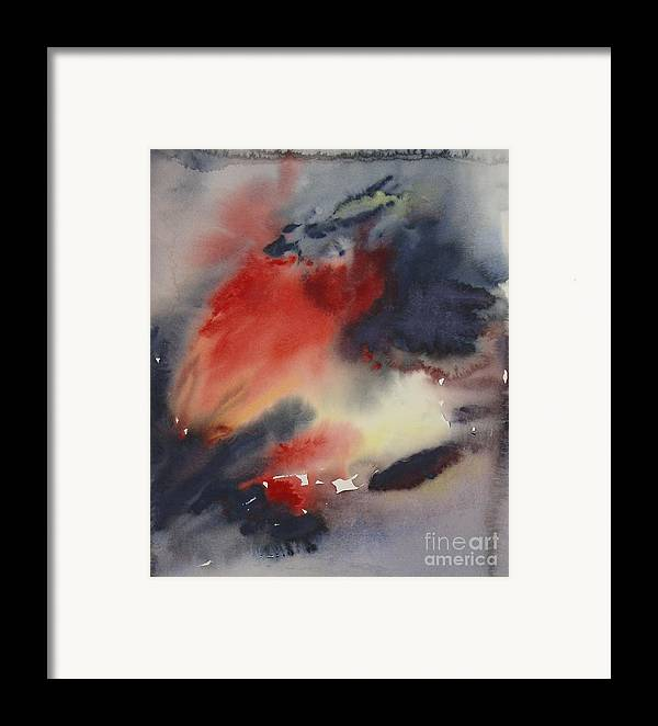 Sky Sunset Red Dark Stormy Evening Dusk Clearing Leila Atkinson Original Watercolor Framed Print featuring the painting Sunset Series I by Leila Atkinson