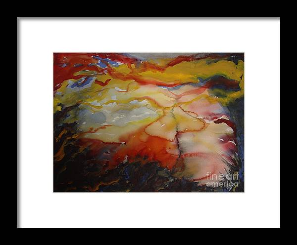 Sunset Clearing Sky Leila Atkinson Abstract Original Watercolor Framed Print featuring the painting Sunset Series II by Leila Atkinson
