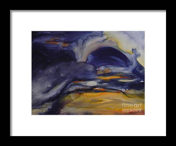 Sky Sunset Abstract Ominous Blue Dark Cloudy Leila Atkinson Original Watercolor Framed Print featuring the painting Sunset Series IIi by Leila Atkinson