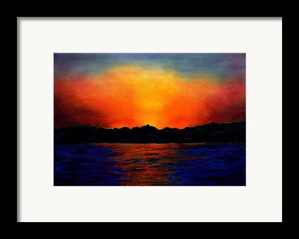 Sinai Sunset Framed Print featuring the painting Sunset Sinai by Helmut Rottler