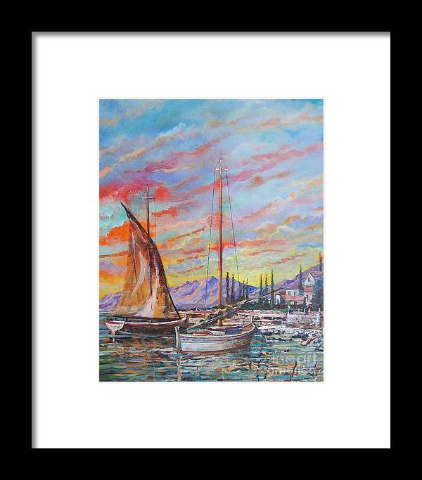 Original Painting Framed Print featuring the painting Sunset by Sinisa Saratlic