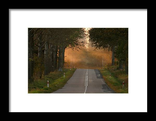 Sunset Road Framed Print featuring the photograph Sunset Somewhere On The Road by Adam Szewczak