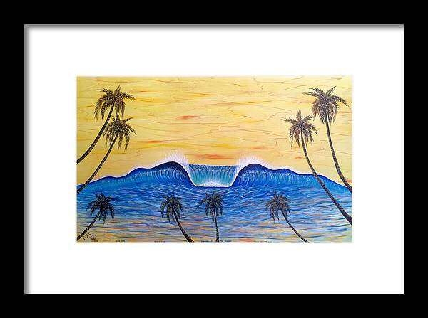 Abstractart Framed Print featuring the painting Sunset Surf Dream by Paul Carter