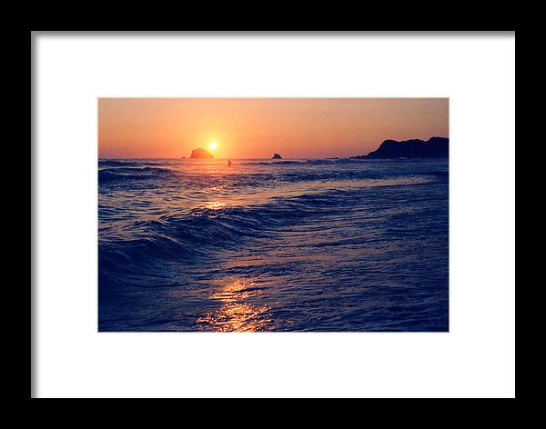 Sunset Framed Print featuring the photograph Sunset Swimmer At Zipolite by Lyle Crump