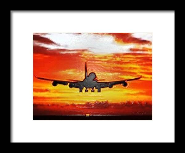 Digital Art Framed Print featuring the painting Sunset Take Off by Piety Dsilva