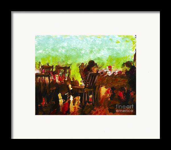 Dining Framed Print featuring the mixed media Sunset Terrace Intimacy by Marilyn Sholin