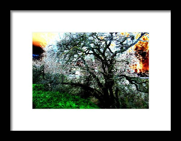 Abstract Framed Print featuring the painting Sunset by Tim Tanis